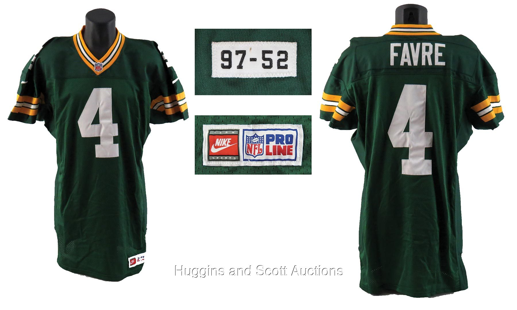 new style 0fd52 a15da Brett Favre 1997 Green Bay Packers Game-Worn Home Jersey